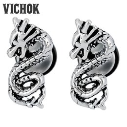 Wholesale Dragon Stud Earrings - Chinese Dragon Design Stud Earrings 316L Stainless Steel Stud Earrings Vintage Gothic Punk Rock Earrings Fashion Jewelry for Men