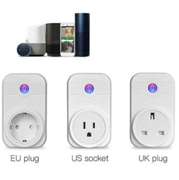 Wholesale remote control plug switch - Smart WiFi Socket Outlet Timer Control Power Switch Electronic Plug Timing Switch Remote Control Power Socket OOA3971