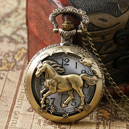 Wholesale Womens Plastic Watches - Vintage Bronze 3D Horse Zodiac Hollow Quartz Pocket Watch Necklace Chain Pendant Jewelry Womens Men Children Boy Girl Birthday Gifts Clock