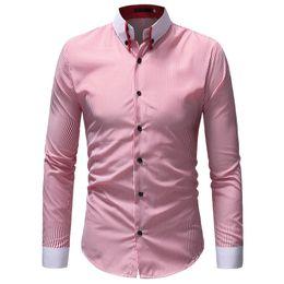 7c5bcd6b6f Camisa de vestir 2018 Marca de moda Camisas de rayas para hombre Camisa  casual de manga larga para hombres Slim Fit Hombre Social Business XXXL  vestido ...
