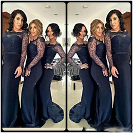 Wholesale Blue Brides Maids Dresses - 2018 Navy Lace Long Sleeves Bridesmaid Dress Groups Sheer Neck Floor Length Mermaid Plus Size Maid Of The Bride Gown For Wedding