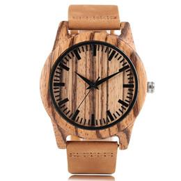 orologio in pelle vera Sconti Orologio da uomo rotondo cassa in legno zebra orologi da polso al quarzo cinturino in vera pelle sport orologio da polso moda casual stile orologio maschile relogio masculino
