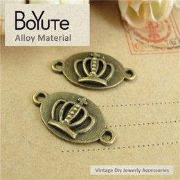 Wholesale Crown Connector - BoYuTe (50 Pieces Lot) 13*24MM Charms Crown Connector Pendant Antique Bronze Zinc Alloy Diy Bracelets Metal Jewelry Findings Components