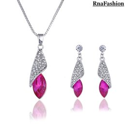 Wholesale Tear Crystal Water Drop Necklace - whole saleNew 2014 Hot selling Wholesale Silver Plated Crystal tear Water Drop Pendant Necklace Stud Earring fashion Jewelry Set For Women
