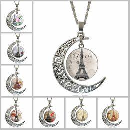 Wholesale Eiffel Tower Pendant Necklace - Fashion Time Gemstone Chokers 4*3.5cm Hollow Moon Eiffel Tower Totem Sliver Plated Pendants Necklaces for Women Men