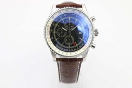 a863fd7b6e3 Hot alta qualidade relógio de luxo série MONTBRILLANT A2133012-B571 ( pulseira de couro marrom Barenia) safira espelho cronógrafo de aço  inoxidável wa