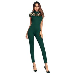Wholesale Sexy Leotards For Women - Ejqyhqr Leotard Slim Jumpsuits Romper Body for Women Short Sleeve Solid Color Hollow Out Sexy Party Coveralls Bodycon Jumpsuit