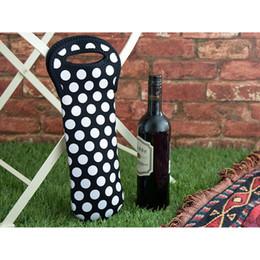Wholesale wholesale wine totes - Blanks Neoprene Case Varied Design Wine Holder Tote Carrier Ball Pattern Bottle Holder Cooler Bag DDA354