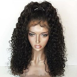 Wholesale Blonde Medium Hair Styles - Sexy Style Medium Brown Black Afro Kinky Curly Lace Wigs for Black Women Heat Resistant Glueless Synthetic Lace Front Wigs with Baby Hair
