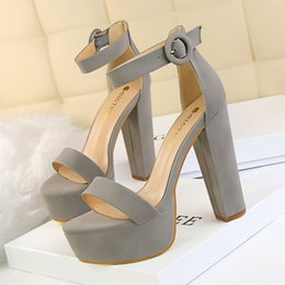 7fd55b1537ed 2018 Women Classic 13cm Block High Heels Fetish Soft Suede Platform Sandals  Female Gladiator Summer Shoes Lady Nude Sexy Pumps DS1550-11 inexpensive  light ...