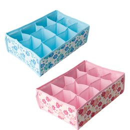 Wholesale Storage Boxes Underwear Bra - Hot Sale 12 Grid Storage Box Bag Non-Woven Fabric Folding Case For Bra Socks Underwear organizer for cloth print storage
