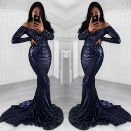 bule sexy dresses Promo Codes - Sexy Long Sleeve Navy Bule Sequined Prom Dresses Mermaid Sweep Train 2018 Custom Made Evening Dress Party Gowns