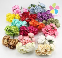Wholesale Mulberries Flowers - Mulberry Paper Rose Flower Bouquet wire stem wedding flower D027020001