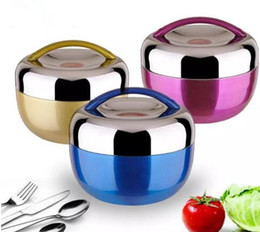 Wholesale Rice Boxes - Stainless Steel Bowl 1000ML Student Apple Lunch Box 304 Insulated Lunch Box Non-magnetic Stainless Steel Rice Bowl 5 Colors
