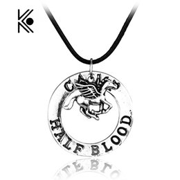 Wholesale Gift Horse Movie - whole salePercy Jackson CAMP HALF Blood Flying Horse Pendant Necklaces Gifts Rope Necklace Splicing Necklace Movie Jewelry