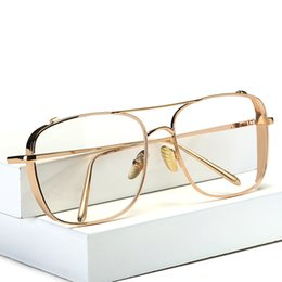 2020 chic donna occhiali da sole 2019 New Flat Mirror Occhiali da sole per donna Gold Frame lunette Metal Cateye Shades Chic Ladies Summer Silver Occhiali da sole chic donna occhiali da sole economici