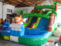 Wholesale Popular Children Toys - 2018 Popular and Hot Sale Inflatable Slide with a pool amusement park giant inflatable slide for children inflatable island