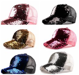 Wholesale fitted mesh baseball hats - Sequins Baseball Cap Women Girls Adjustable Shinning Mesh Sun Hat Ponytail Snapback Caps 6 COLOR KKA5571
