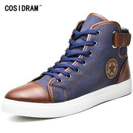 daa429d552d COSIDRAM Moda Alta Top Homens Sapatos de Lona Dos Homens Sapatos Casuais  Para o Outono Inverno Masculino Calçado Patchwork Plus Size 45 46 47 RMC-165