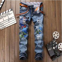 Wholesale Flower Skinny Jeans - Flowers Mens Skinny Jean Distressed Slim Jeans Denim Hip hop Pants Washed Ripped Jeans plus size