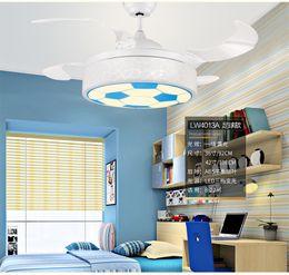 2019 lámparas de la habitación de la princesa Rmamary36 / 42 Pulgadas LED Ventiladores de Techo Light Children Room Boy Control Remoto de Fútbol 3 Color Ventilador de Techo Lámpara de Niña Princesa Light rebajas lámparas de la habitación de la princesa