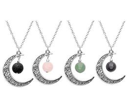 collar de piedra natural luna Rebajas Collar de joyería de moda Collar de luna Piedra natural de ágata Amatista Colgante de cristal Collar Cadena de eslabones