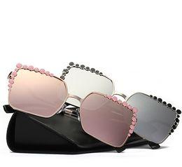 Wholesale frames decorative - Women Sunglasses Women Decorative Rhinestone Brand Designer Copper Frame HD Clear lens Double Bridge Sun Glasses