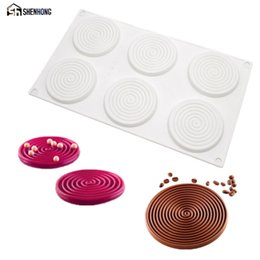 Wholesale art pan - wholesale Spiral Shape Silicone Mold 6 Holes Peach 3D Cake Moulds Mousse For Ice Creams Chocolate Pastry Bakeware Dessert Art Pan