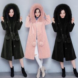 Wholesale Womens Long Fox Coats - Womens Winter And Autumn Large Size Black Faux Fox Fur Coats Long Section Turn Down Collar Man-Made Fur Overcoats Clothes