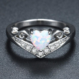 Wholesale heart bridal ring set - Creative High Imitation Opal Eternity Ring Engagement Ring Styles Jewelry Love Heart Bridal Ring Hot Sale