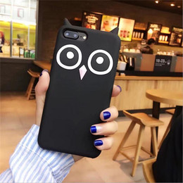 Wholesale Owl Black - For iPhone X Owl Silicone Case 8 Plus 6 6S 7 Plus 5 5S SE Fashion Funny Soft Cartoon Mobile Phone Skin Cover Drop Shipping