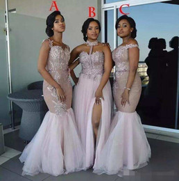 off shoulder dress mermaid style Promo Codes - Dusty Pink Mixed Style Mermaid Bridesmaid Dresses 2019 Off Shoulder Appliques Split Layered Tulle Floor Length Maid of Honor Gowns