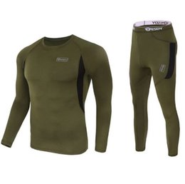 Wholesale Thermals Suits - new men thermal underwear sets compression fleece sweat quick drying thermo underwear men clothing