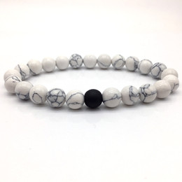 Wholesale Marble Beads Wholesale - whole sale2018 H0T Fashion Classic Marble Beaded Bracelets for Men Women Natural black & white Stone Bead Pulseras Hombre Jewelry gift