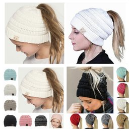 Wholesale Girl Protection - Adult & kids CC Ponytail Caps CC Knitted Beanie Fashion Girls Winter Warm Hat Back Hole Pony Tail Autumn Casual Beanies LJJY1236