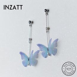 joyas de plata Rebajas INZATT Romántico Azul Mariposa Perla Cuelga los Pendientes de Gota de Plata de Ley 925 Bar Stick Boho Elegante Joyería Fina Para las mujeres