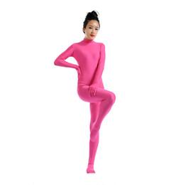 2019 costume rosa della pelle (SWH010) Rosa Rosa Spandex Full Body Skin Tuta Tuta Zentai Suit Tuta Costume per Donna / Uomo Unitard Lycra Dancewear costume rosa della pelle economici