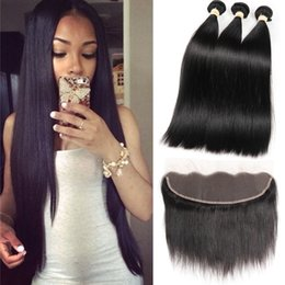 Wholesale 18 Inch Hair Length Straight - 8A Mink Brazilian Straight Hair 13x4 Lace Frontal Closure with Bundles Non-Remy Human Hair with Ear to Ear Lace Frontal Closure Free Part