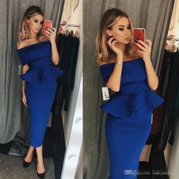 Wholesale Long Sleeve Tea Length Gown Peplum - Chic Royal Blue Sheath Cocktail Prom Dresses Peplum 2018 Off Shoulder Tea Length Short Party Wear Gowns Arabic Style