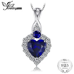 2019 saphir echtes silber JewelryPalace Klassische Herz-Form 0.9ct Erstellt Sapphire Anhänger Echt 925 Sterling Silber Romantische Schmuck Nicht Eine Kette günstig saphir echtes silber