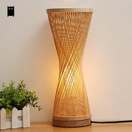 Bambou En Osier Rotin Spire Vase Table Lampe Luminaire Creative Rustique  Coréen Asiatique Japonais Style Bureau Lumière Abajur Chambre Chevet
