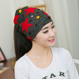 swag hats Coupons - Fashion Women Hat Fall Winter Hats Casual Star Beanie Girls Caps Warm Hats Ear Protection Wool Hat Beautiful Scarf Swag Cap