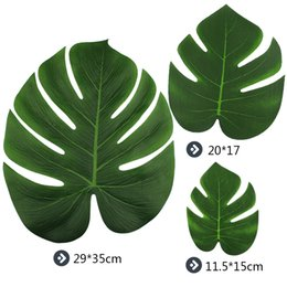 Wholesale Hawaiian Wholesale Flowers - 12pieces Palm Leaves Artificial Turtle Leaf For DIY tropical Hawaiian Theme Party Home Garden Wedding decoration 20*17cm