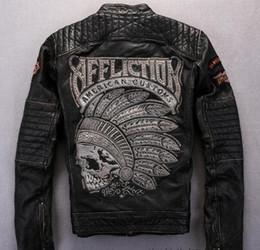 Motorradjacken aus echtem leder online-Street Fashion Affliction Herren Motorrad echte Lederjacke mit indischer Totenkopfstickerei