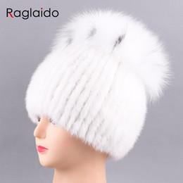 Wholesale Mink Fur Hats Women - Raglaido Brand Luxury Hats Women Mink Knittd Real Fur Cap Hand sewing Winter Beanies cap Natural fur Snow Hat elastic LQ11213