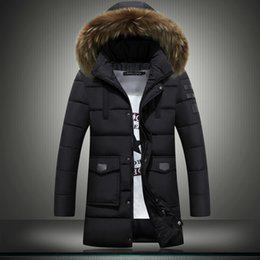 Wholesale Canada Mens Jacket - New mens winter jackets coats youth long section plus size canada cotton down jacket slim thicken fur collar men outdoor cheap jacket coat