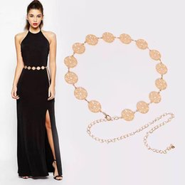 Wholesale Waist Chain Dress - Fashion Belts Women Belt Waist Chain Hollow Circle Decoration Woman Printing Peach Camellia Floral Pin buckle Strap for Clothing or Dress