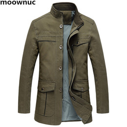 Wholesale trench coat mens army green - 2018 New Mens 100% cotton casual Blazer trench coat full Size XL-5XL Classic coats Blazers Men thicken Jackets Warm Male Jacket