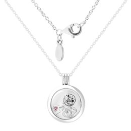 Большой медальон серебряный онлайн-Large floating locket Necklaces and Pendants with 3 inner Parts 100% 925 Sterling Silver Jewelry For Women Free Shipping 13N027H