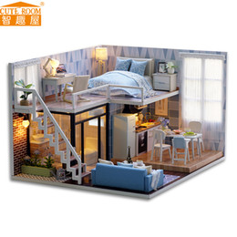 Wholesale Wooden Model House Kits - NEW Diy Miniature Wooden Doll House Furniture Kits Toys Handmade Craft Miniature Model Kit DollHouse Toys Gift For Children L023